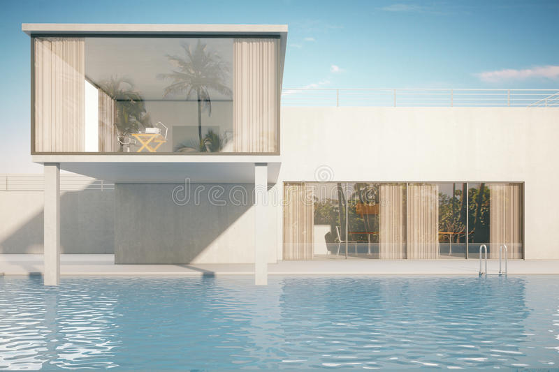 Exterior of house with pool stock illustration