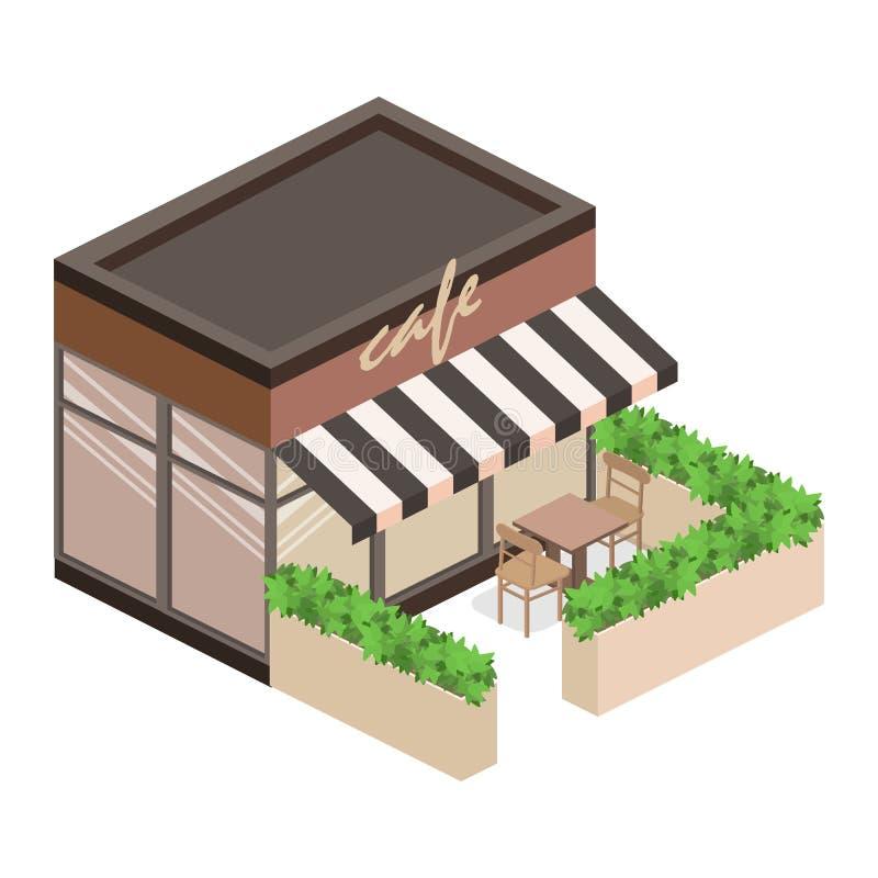 Exterior isométrico de la cafetería o de la dulce-tienda stock de ilustración