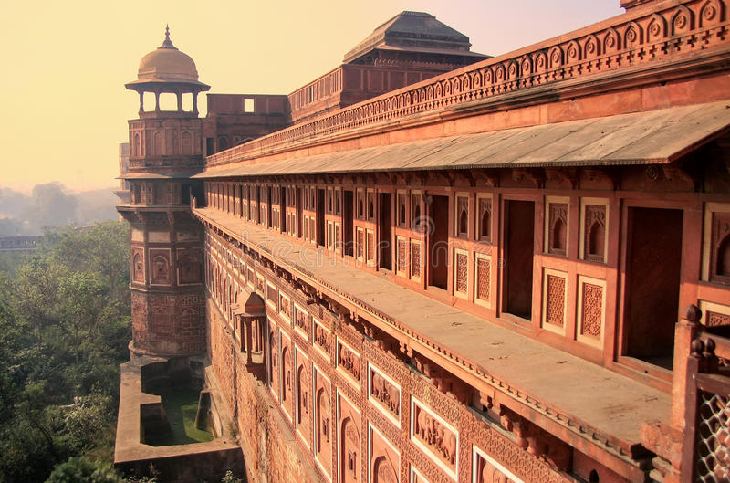 Exterior of Jahangiri Mahal in Agra Fort, Uttar Pradesh, India. The fort was built primarily as a military structure, but was later upgraded to a palace stock image