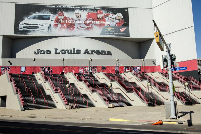 Exterior Of Joe Louis Arena In Detroit Michigan. Detroit, Michigan, USA - March 18, 2018: The exterior of Joe Louis Arena with road sign for Steve Yzerman Drive stock photo