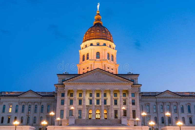 Kansas State Capital Building at Night. Exterior of the Kansas State Capital Building in Topeka, Kansas at Night royalty free stock photo