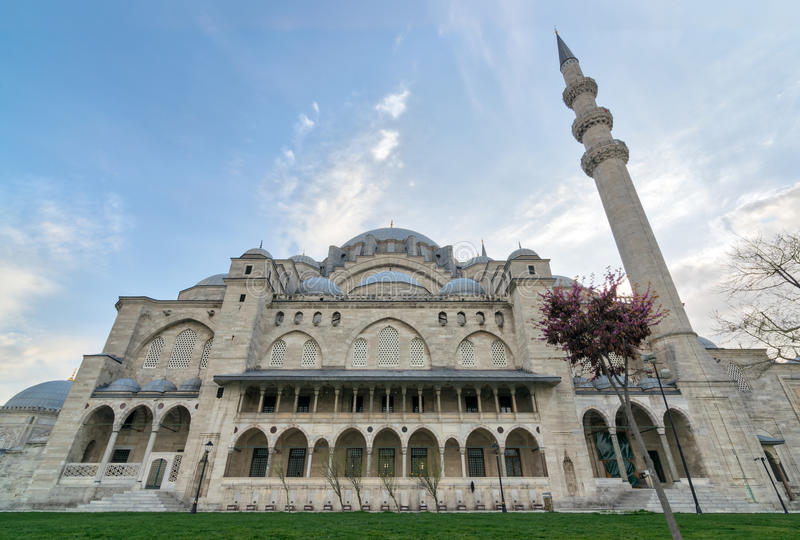 Exterior low angle day shot of Suleymaniye Mosque, Istanbul, Turkey stock images