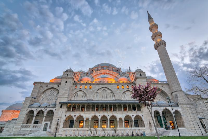 Exterior low angle shot of Suleymaniye Mosque before dusk. An Ottoman imperial mosque located on Istanbul, Turkey royalty free stock photos