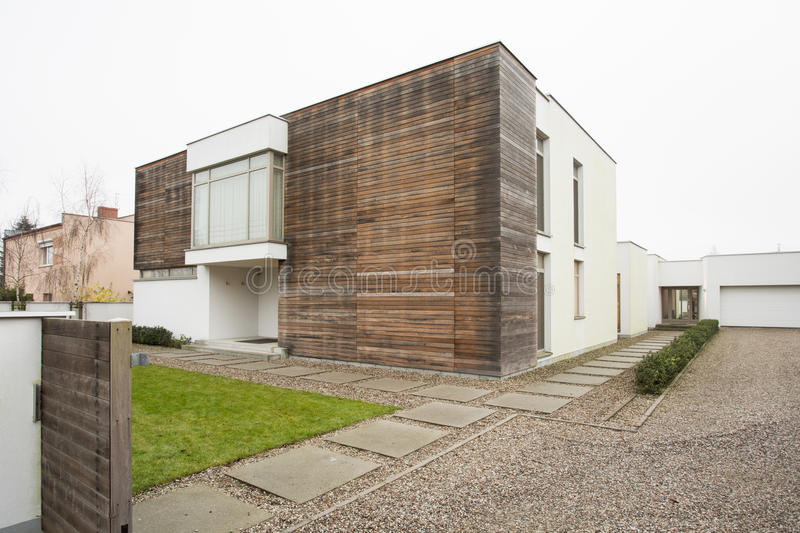 Exterior of luxury detached house royalty free stock photos