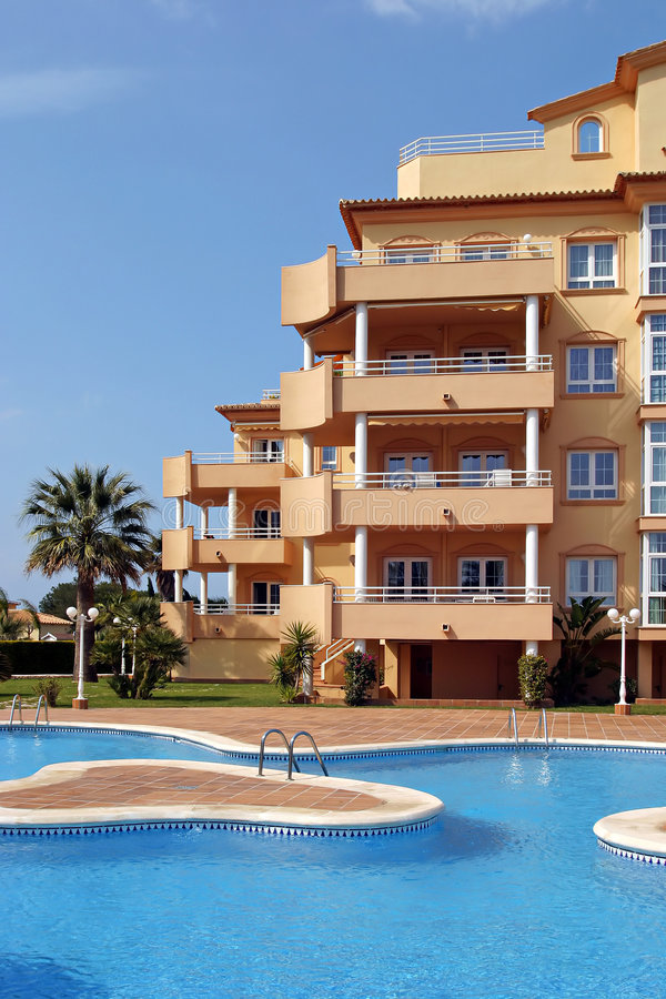 Download Exterior Of Luxury Holiday Or Vacation Apartments In Spain Stock  Image   Image Of Swim