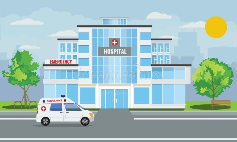 Exterior médico da construção do hospital com paisagem da cidade e carro da ambulância Ilustração do vetor ilustração do vetor