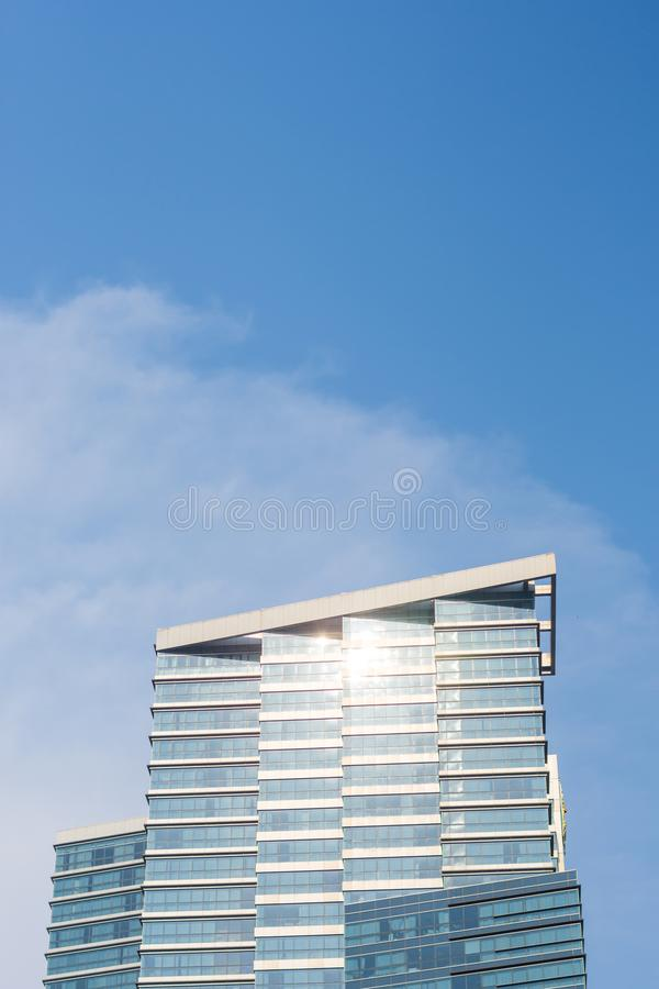 Exterior of modern building with blue sky. stock photos