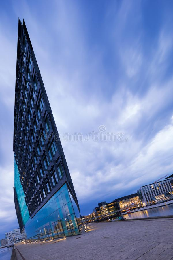Exterior of modern glass building. Exterior of modern building. Sword in the ocean royalty free stock photos