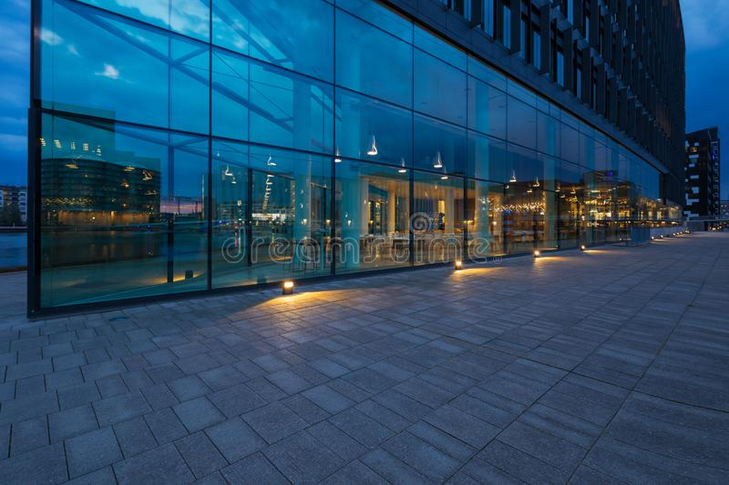 Exterior of modern glass building. Exterior of modern building. Sword in the ocean stock photo