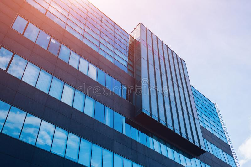Exterior of modern glass business center. Architecture of high mirror building stock image