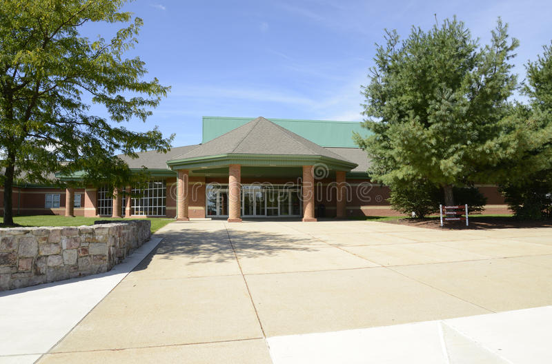 Exterior of a modern middle school stock photo