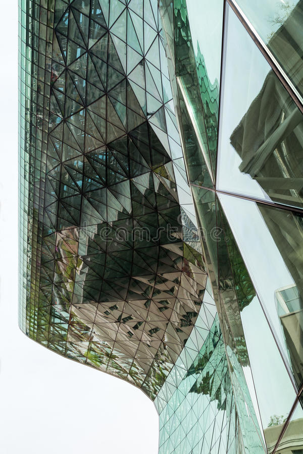 Exterior of the modern Seoul City Hall building. Glassy exterior of the modern Seoul City Hall in Seoul, South Korea, viewed from below royalty free stock photos