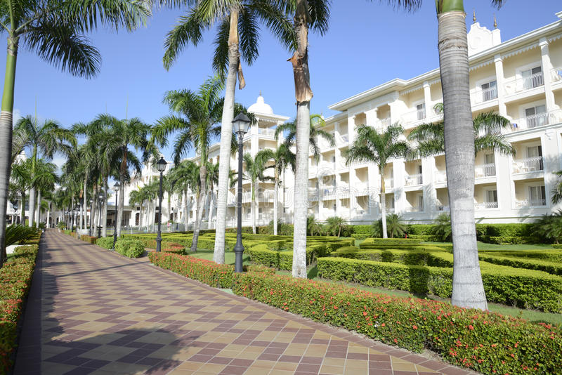 Exterior of a modern tropical resort royalty free stock photo