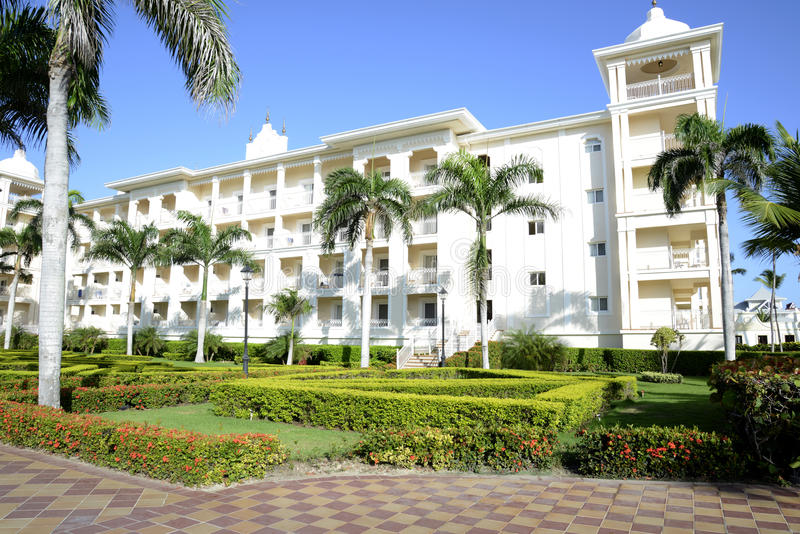 Exterior of a modern tropical resort stock image