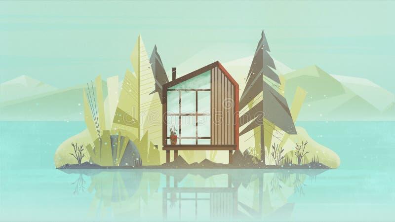 Exterior moderno de la casa de la cabaña, chalet que construye la bandera horizontal con los árboles, lago y las montañas Ilustra foto de archivo libre de regalías