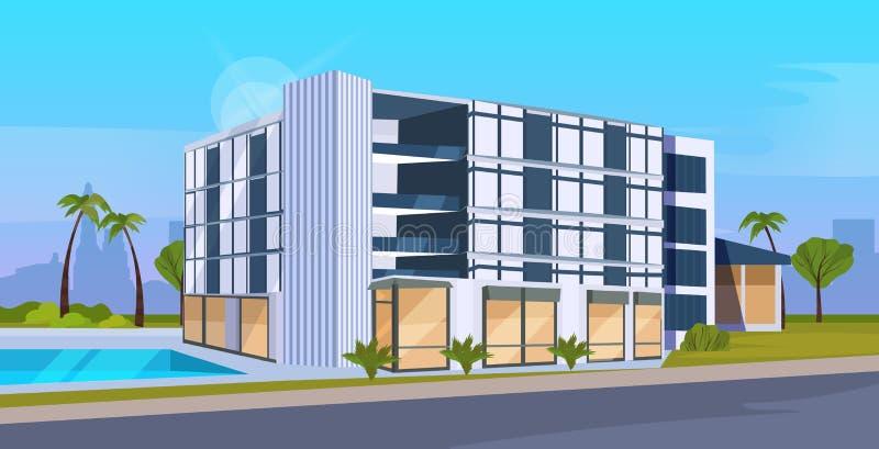 Exterior moderno del edificio de oficinas del hotel con paisaje urbano comercial del diseño del centro de negocios de las ventana libre illustration