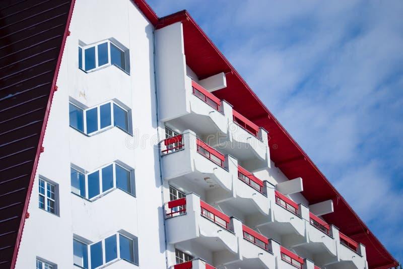 Exterior moderno do hotel fotografia de stock
