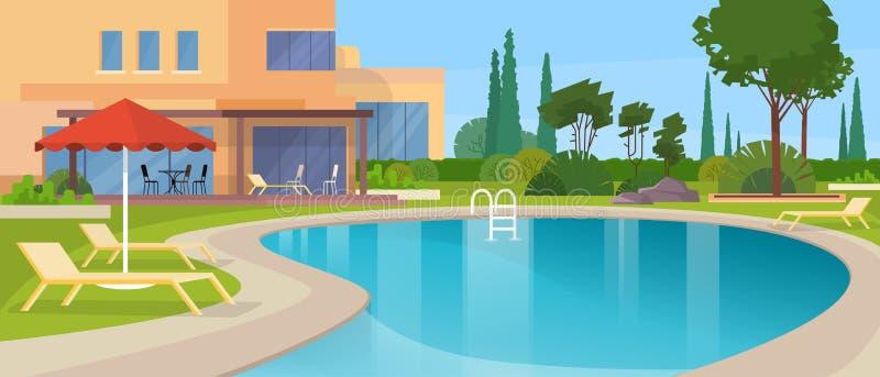 Exterior moderno grande da casa do hotel da casa de campo da piscina ilustração do vetor