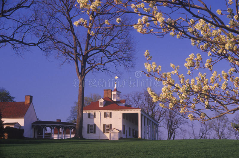 Exterior of Mt. Vernon, Virginia, home of George Washington stock photography