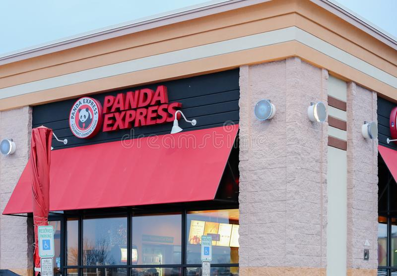 Exterior of a new Panda Express. Panda Express is one of America`s largest operators featuring fresh and fast Chinese food. stock photos
