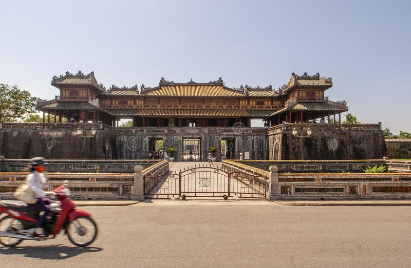 Exterior of the Ngo Mon Gate, part of the Citadel in former Vietnamese capital Hué, Central Vietnam, Vietnam stock image