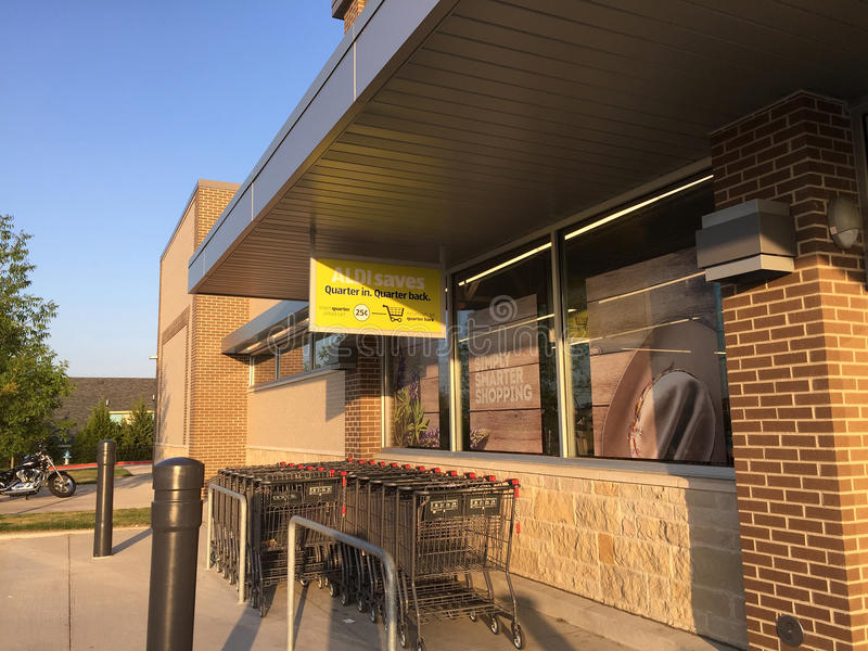 Exterior of nice foot market ALDI in TX USA stock image