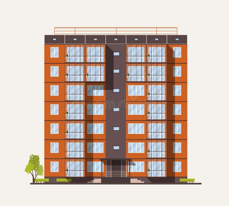 Exterior o fachada de la construcción de viviendas alta de la ciudad construida con los paneles o los bloques prefabricados concr stock de ilustración
