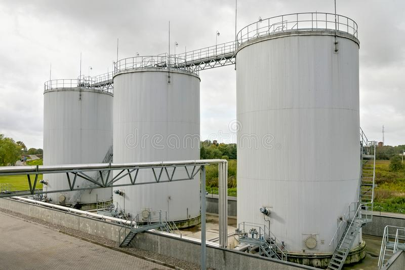 Exterior of oil storage tanks. Exterior of oil storage tanks on the agricultural plant stock image