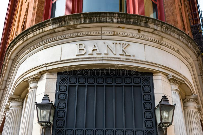 Old Bank Building Exterior with Bank Sign royalty free stock images