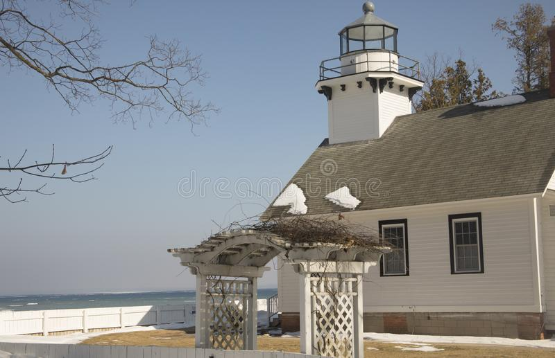 Old Mission Lighthouse, Traverse City, Michigan in winter. Exterior of Old Mission Lighthouse in Traverse CIty, Michigan in winter stock photography