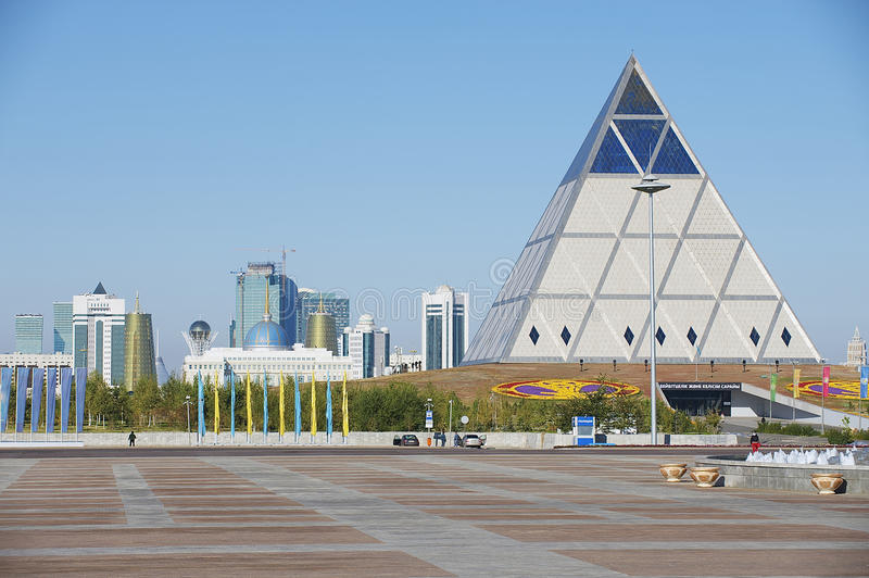 Exterior of the Palace of Peace and Reconciliation building in Astana, Kazakhstan. stock photo