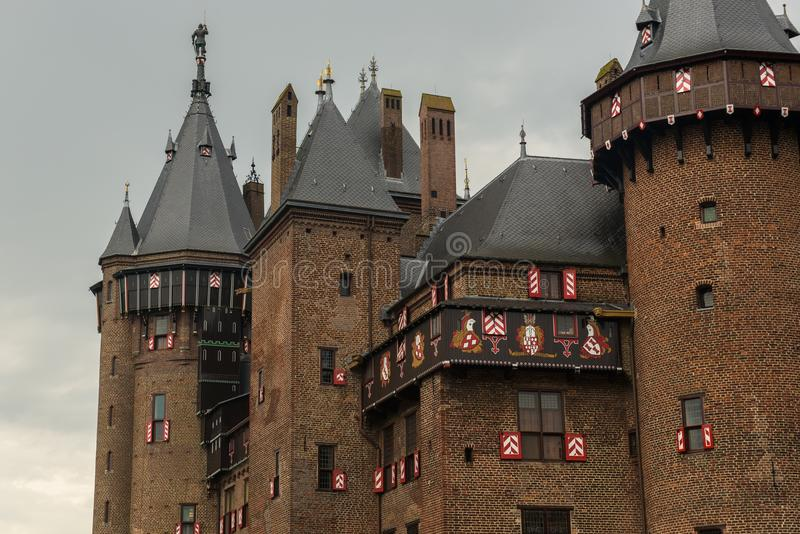 Exterior of parts of De Haar Castle with towers and windows in neo gothic style. As designed by architect Pierre Cuypers stock images