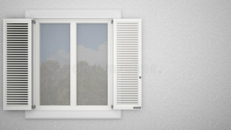 Exterior plaster wall with white window with shutters, garden reflections, blank background with copy space, architecture design stock illustration