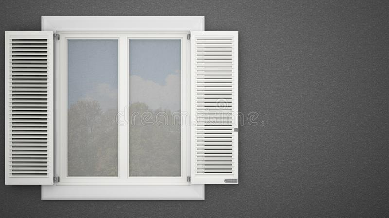 Exterior plaster wall with white window with shutters, garden reflections, dark gray background with copy space, architecture desi stock illustration