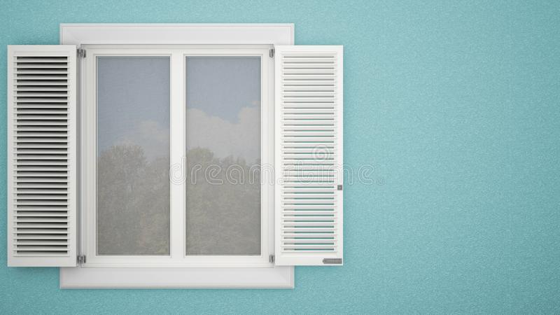 Exterior plaster wall with white window with shutters, garden reflections, pastel blue background with copy space, architecture de vector illustration