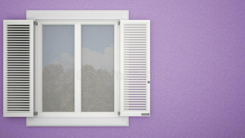 Exterior plaster wall with white window with shutters, garden reflections, pastel violet background with copy space, architecture vector illustration