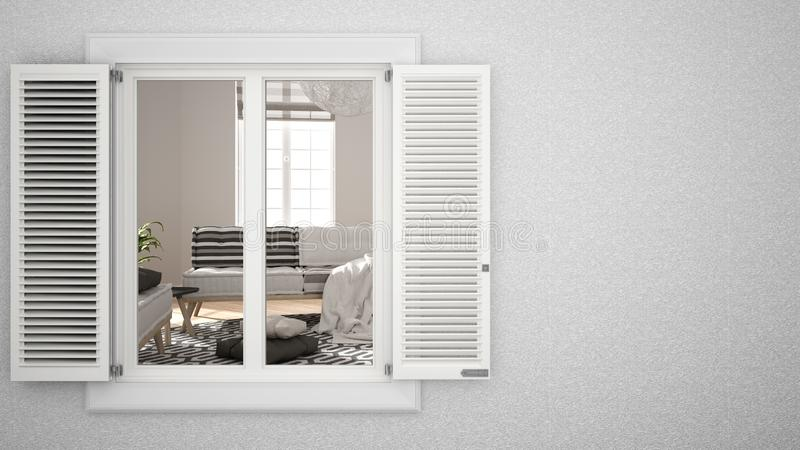 Exterior plaster wall with white window with shutters, showing interior living room, blank background with copy space,. Architecture design concept idea, mockup royalty free illustration