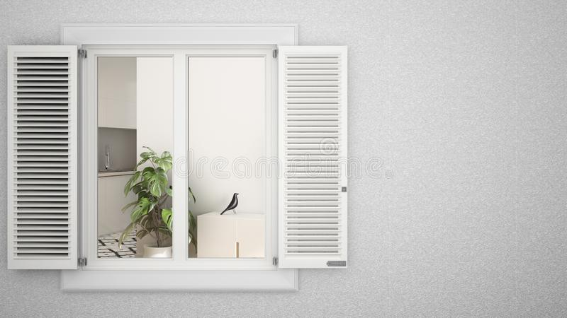 Exterior plaster wall with white window with shutters, showing interior living room, blank background with copy space,. Architecture design concept idea, mockup stock photos