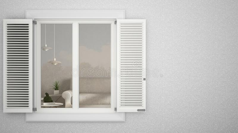 Exterior plaster wall with white window with shutters, showing interior modern living room with sofa, blank background with copy s stock illustration