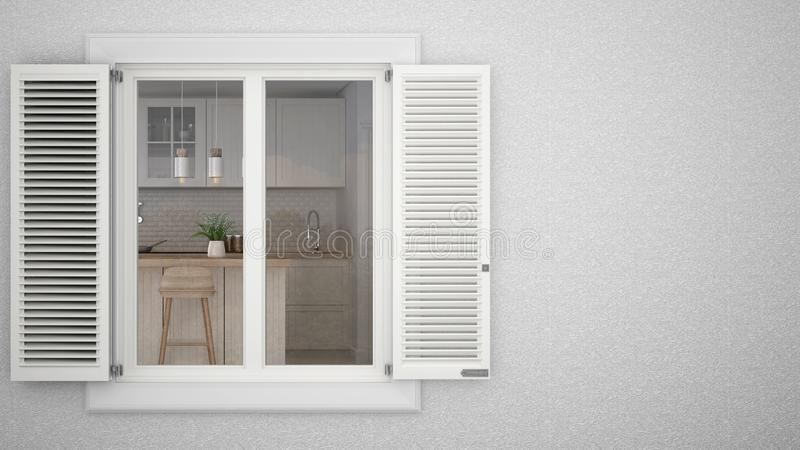 Exterior plaster wall with white window with shutters, showing interior scandinavian kitchen with island, blank background with co. Py space, architecture design royalty free stock photography