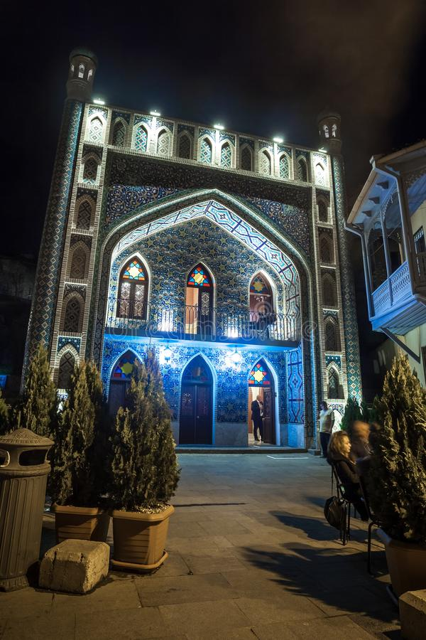 13.04.2018 - Exterior of public bath in Tbilisi at night a fine royalty free stock images