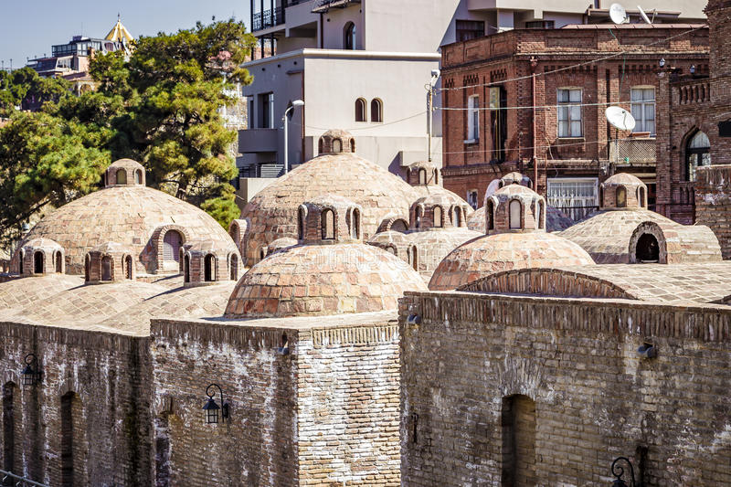 The exterior of public baths in Tbilisi royalty free stock images