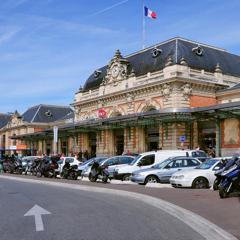 Exterior of railway station SNCF. royalty free stock image