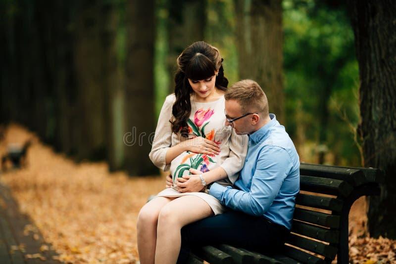 Exterior relajante de los pares elegantes embarazadas hermosos en el parque del otoño que se sienta en banco fotos de archivo