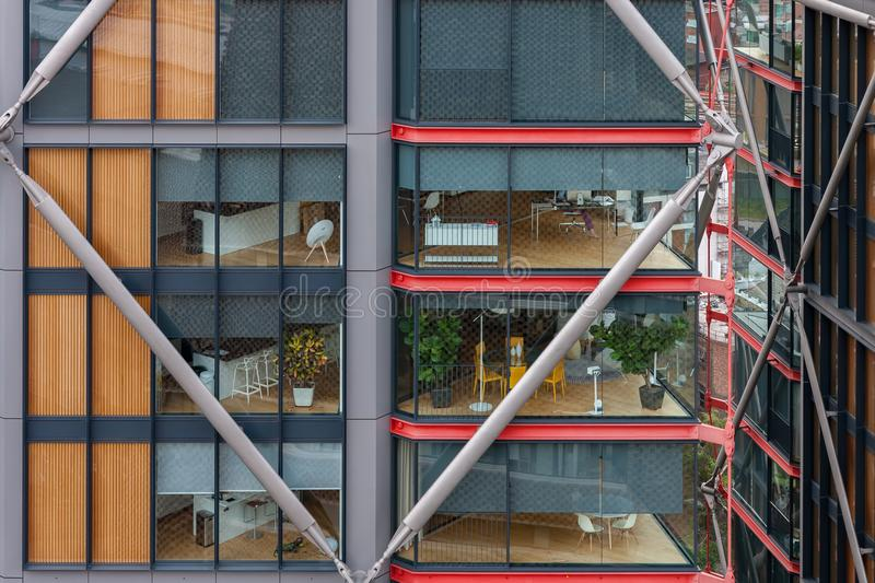 Exterior of residential units in building on South Bank in London, view from above. royalty free stock photo