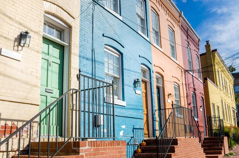 Exterior of a Row of Old Colourful Houses royalty free stock photo
