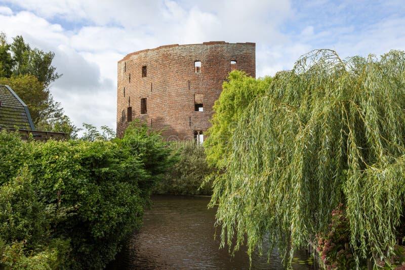 The exterior of the ruin castle Teylingen in Sassenheim in the Netherlands stock photos