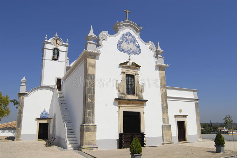Exterior of the Saint Lawrence of Rome church in Almancil, Portugal. Church has one of the most beautiful in Portugal hand painted tiles (Azulejo) of the 18th stock photos