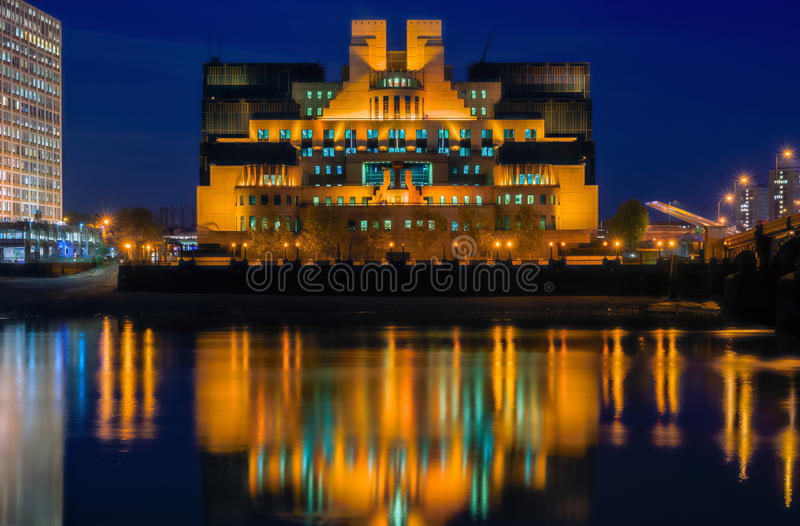 Exterior of Secret Intelligence Service Building. Exterior of Secret Intelligence Service SIS, MI6 building in London royalty free stock image