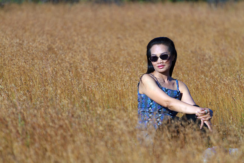 Exterior 'sexy' da mulher no campo fotos de stock royalty free